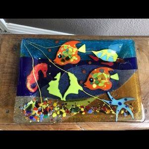 Accessories - Handmade Australian glass fish design small tray